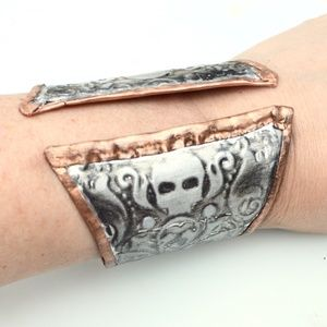 Skull Solid Copper Silver Wide Cuff HandCrafted